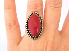 Oval Red Jasper Cocktail Statement Ring Silver Tone Size 6 #Unbranded #Cocktail