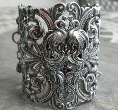 Extra Wide Silver Filigree Peacock Cuff Fashion Bracelet