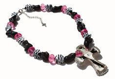 Zebra Hair on Hide Cowgirl Chunky Necklace