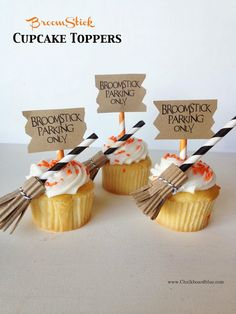 Broomstick Cupcake Toppers | simplykierste.com from guest blogger Michelle from Chalkboard Blue