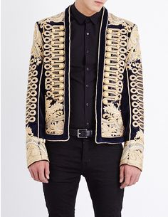 BALMAIN Rope-embroidered velvet jacket
