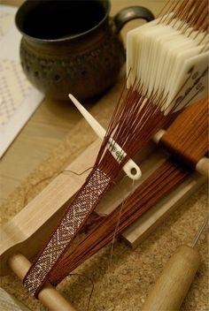 Brocaded Birka tablet woven braid, silk and silver by Tríona Ní Erc