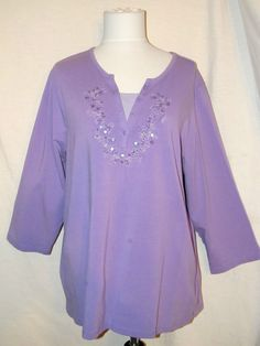 Sz XL d & co. denim & company Lilac Knit Top 3/4 Sleeves Beading Front #dcoDenimCompany #KnitTop #Casual