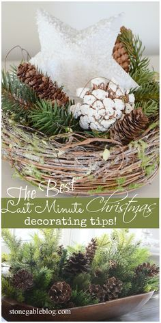Easy, last minute Christmas decorating ideas using greens. Lots of tips and tricks!
