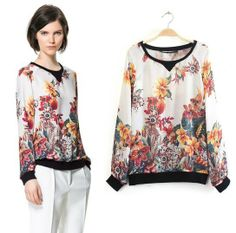 Free shipping women floral printed long sleeves chiffon blouse O-neck ZA design women flower shirt faux silk blouse CSH169 US $10.68