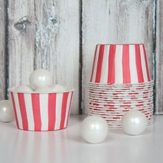 red striped candy cups $4.00