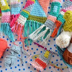 tunisian crochet tunisch haken wandhanger crochet