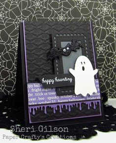 card Halloween ghost spokky booh bat bats black white purple                                                                                                                                                                                 More