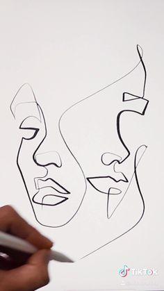 Art Drawings Sketches Simple, Pencil Art Drawings, Line Drawing Art, Picasso Drawing, Single Line Drawing, Continuous Line Drawing, Sexy Drawings, Madara Wallpaper, Desenhos Love