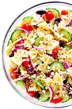 The BEST Mediterranean Pasta Salad Made with your choice of pasta cucumber tomato olives onions feta cheese and a zippy lemon herb vinaigrette Always a crowd fave Vegetarian Pasta Salad, Easy Pasta Salad Recipe, Best Pasta Salad, Greek Salad Pasta, Pasta Salad Italian, Soup And Salad, Pasta Recipes, Vegetarian Recipes, Healthy Recipes