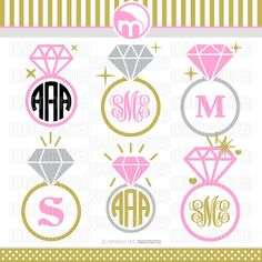 Diamond Wedding Ring SVG Cut Files - Monogram Frames for Vinyl Cutters, Screen Printing, Silhouette, Die Cut Machines, & More by MoonMinted on Etsy https://www.etsy.com/listing/250536262/diamond-wedding-ring-svg-cut-files