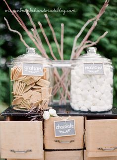S'mores Station- Outdoor rustic farm wedding | Great idea - but if the weather turns warm, make sure the chocolate doesn't melt.