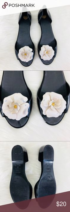 Melissa Peep Toe Flower Flats In good used condition. Only flaw is the flowers have stains on them. Mel by Melissa Shoes Flats & Loafers