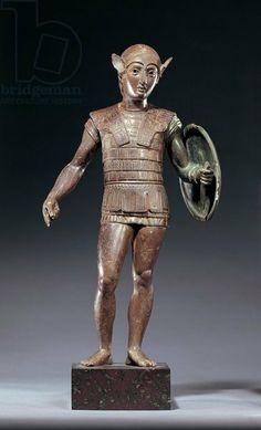 Italy, Tuscany, Monte Falterona, Bronze statue depicting warrior. Etruscan civilization V century b.C. Artwork-location: London, British Museum