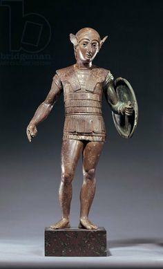 Italy, Tuscany, Monte Falterona, Bronze statue depicting warrior. Etruscan civilization V century b.C. Artwork-location: London, British Museum