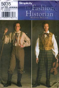 Simplicity 5035 FASHION HISTORIAN  Martha McCain Mens 1800s Costume Shirt and Pants  sewing pattern by mbchills