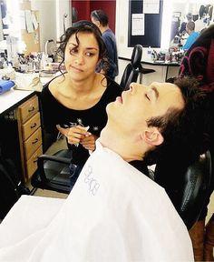 Ian Somerhalder and Janina Gavankar Vampire Diaries Makeup, Vampire Diaries Memes, Vampire Diaries Damon, Vampire Diaries The Originals, Ian Somerhalder, Damon Salvatore, Paul Wesley, Janina Gavankar, Damon And Stefan