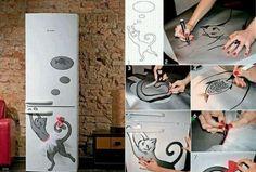 Katze Kühlschrank Wandsticker coole süße Idee Tutu Röckchen