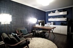 Houzz:  not sure hot to pull this off.....but I like the combo of denim, dark wood, red wood, white, , and .........dusty teal!   Denim Rec Room Design, Pictures, Remodel, Decor and Ideas