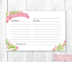 Recipe Card - Printable. Floral Recipe Card. Kitchen Shower Recipe Card. DIY Print Yourself. Instant Download.