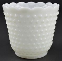 Anchor Hocking Fire King - Hobnail Milk Glass Footed Medium Straight Jardiniere