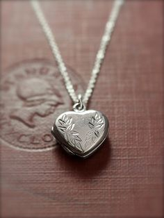 Tiny Heart Locket Necklace Sterling Silver Vintage by TforEdgar, $75.00