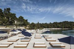 Luxury beach club opens this summer in Rovinj, Croatia - Adelto Mediterranean Plants, Steel Pergola, Crystal Clear Water, Forest Park, Beach Bars, Beach Club, Seaside, Dolores Park, Exterior