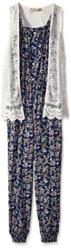 Speechless Girls' Jumpsuit 2pc with Vest, Navy/Blue, Small