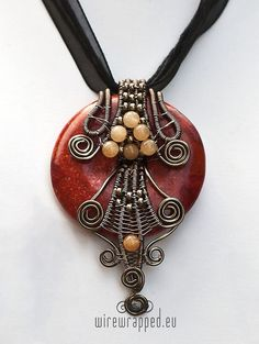 OOAK Wire wrapped coral donut pendant by ukapala on Etsy