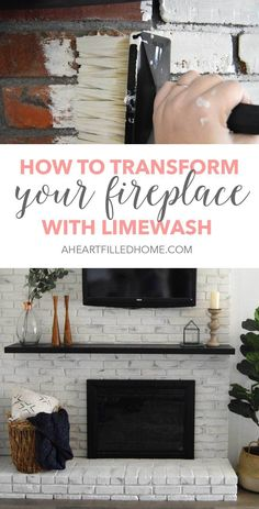 Tired of your dingy old fireplace? Learn how to totally transform your fireplace by using Romabio Classico Limewash! It's so easy to use! Home Design, Modern Design, Design Ideas, Home Remodeling Diy, Home Renovation, Kitchen Remodeling, Joanna Gaines, Home Improvement Projects, Home Projects