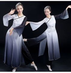 Women ladies female gradient color red and white black and white folk dance costumes ancient traditional stage performance dance wear dresses sets
