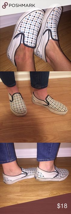 VANS polka dot slip on women's size 8 VANS brand. polka dot pattern. slip on shoes. women's/ladies size 8. See pics Bc the shoes show wear but could easily be cleaned up! Willing to negotiate. Vans Shoes Sneakers