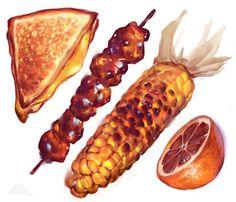Orange set of foodstuffs by Vetyr on DeviantArt Cute Food Art, Cute Food Drawings, Food Sketch, Watercolor Food, Food Painting, Food Illustrations, Aesthetic Food, Food Pictures, Food Inspiration