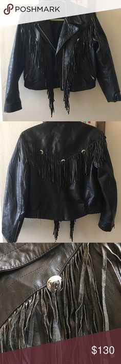 Vintage Western Leather Jacket Vintage. This jacket is definitely a conversation piece. Lots of leather frills, buckets, zippers you name it. Size 6. Slight tear in back bottom seam. Easy fix. No tag. Size 6. unknown Jackets & Coats