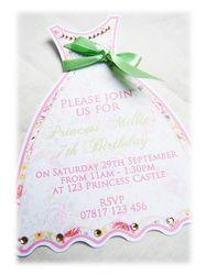 Children's Birthday - Handmade Greeting Cards & Stationery  Princess Dress Children's Birthday Party Invitations handmade by Garden of Eden Stationery