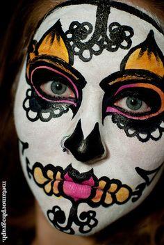 Sugar Skull make up and Day of the Dead Celebration. el dia de los muertos
