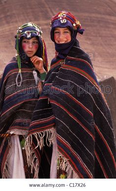 Morocco, Upper Atlas, Imilchil, young berber girls of Ait Haddidou tribe during Wedding Moussem (festival) Stock Photo