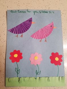 Lifeway Program 7/24/16, Jesus Taught About Worry, Flowers & Birds made from half a cup cake paper, I Peter 5:7