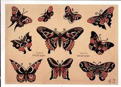 Sailor Jerry, Vintage Tattoo Designs, Moth & Butterfly Tattoo flash sheet, T Shirt Top left Tree Tattoo Arm, 4 Tattoo, Tree Tattoos, Snake Tattoo, Tattoo Small, Traditional Butterfly Tattoo, Traditional Tattoo Flash, Tribal Arm Tattoos, Retro Tattoos