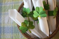 St. Patrick's Day craft. Green shamrock bracelet made out of toilet paper roll & old newspapers painted green.