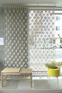 Macreme window covering or room divider? Sally England via the brick house.