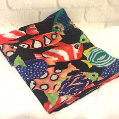 Echo Vintage Women s 100% Cotton Scarf Black Multi-Color Fish 34  x 34