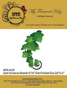 """$6 - My Treasured Kutz 6009 """"Lush Ivy Leaves Branch"""" 1Die Size: 2.6"""" X 1.2"""" #ebay #Home & Garden"""
