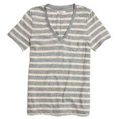 V-Neck Pocket Tee in Stripe - short sleeve - Women's TEES & MORE - Madewell