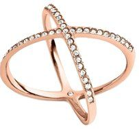 Michael Kors Michael Kors Rose Gold-Tone Pave Clear Crystal X Ring Size6 with pouch