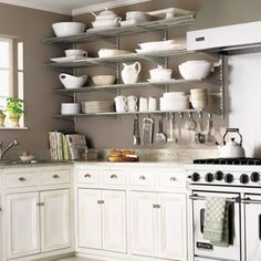 Make up with shelves what you lack in cabinets. | 27 Lifehacks For Your Tiny Kitchen
