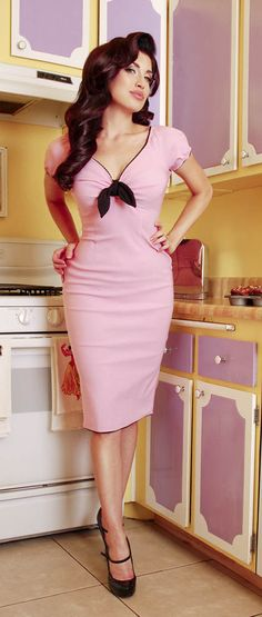 Natalie Dress in Pink with Black Trim, $88