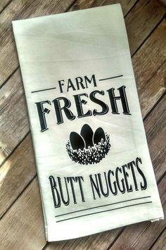 Funny Kitchen Towel Chicken Kitchen Decor Farm Fresh Butt
