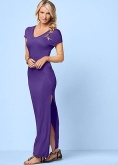 Venus v-neck maxi dress with slit and Venus embellished rope sandal.