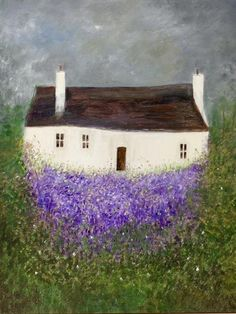 Lavender Cottage by Jean Tatton Jones Impressionist Landscape, Landscape Paintings, Landscapes, Paintings For Sale, Original Paintings, Lavender Cottage, Painted Rocks, Painted Houses, Art For Art Sake